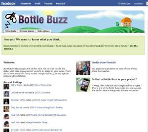 Die Startseite von Bottle Buzz